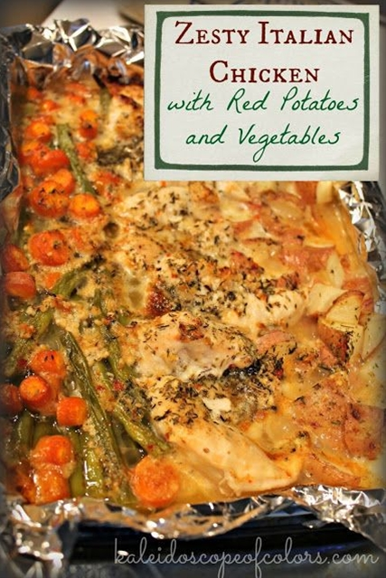 Ingredients: 4-6 Chicken breasts, raw,  5-6 small red potatoes, chopped,  handful of fresh green beans, chopped,  4-6 medium fresh carrots, chopped,  Kraft Zesty Italian Dressing,  3 cloves minced garlic,  3 tablespoons melted butter,  chopped Oregano, Rosemary and Thyme.