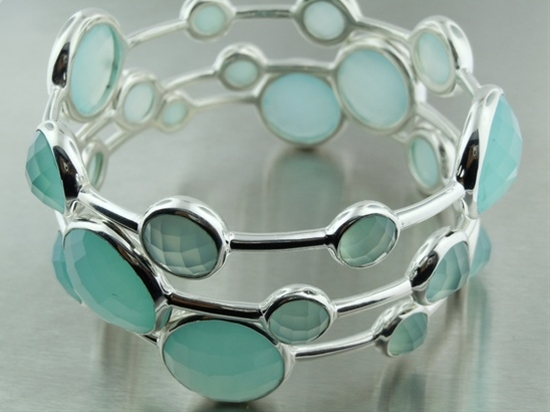 Seafoam Chalcedony Platinum Bubble Bangles by KyleChanDesign