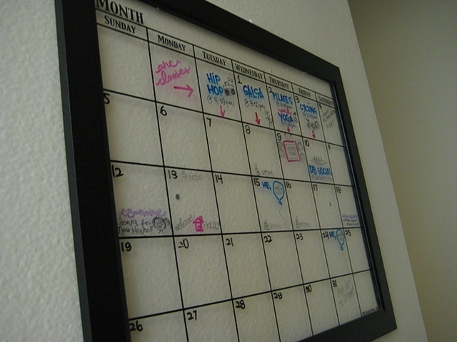 "Our apartment ""clear"" board calendar! It's lovely."