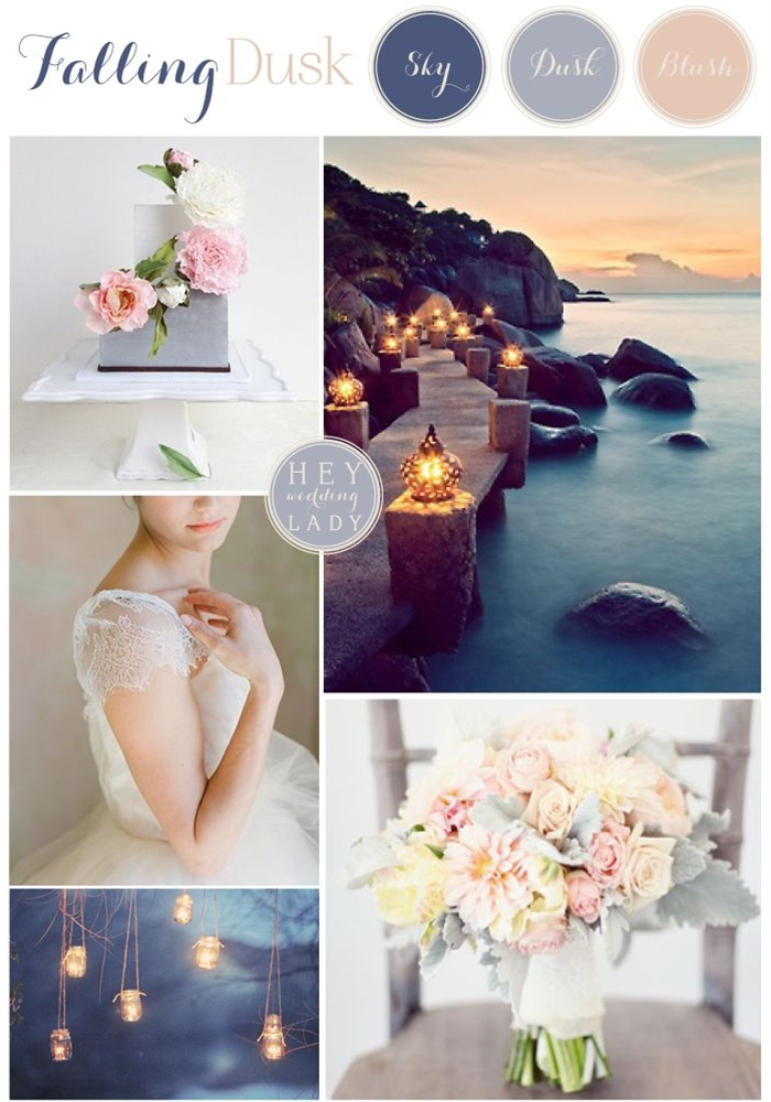 One of my favorite times of day is evening, when the sky starts to turn that clear, deep blue that can only be described as heavenly and the city lights turn into stars burning against the dusk. The serene hues form the perfect palette for a chic, sophisticated event. The tone on tone of lowering blues is softened by the creamy hints of ivory and blush in florals and fashion, with crisp white china standing out against the field of blue.
