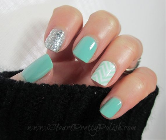 essie nail color polish, turquoise and caicos, .46 fl oz  By Essie Rae. Essie Turquoise & Caicos  OPI Crown Me Already  Jamberry Nail Shield - Chevron @bloomdotcom   See more about mint chevron nails, chevron nails and mint chevron.