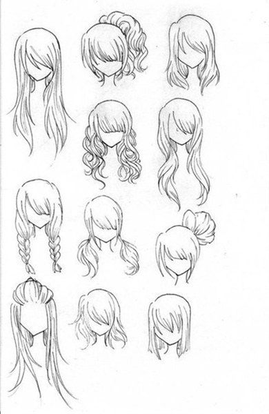 1- After you draw a simple head and shoulders think about what type of hair style you want your creation to have then think about the texture and thickness of the person's hair.