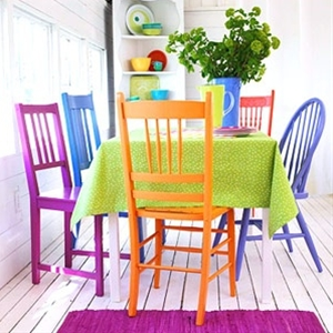 Paint tired chairs in bright shades with high-gloss finish.