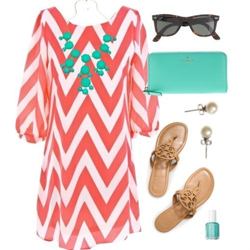 Coral & Tiffany Chevron Dress Cute Zig Zag..