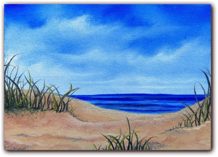 Original Seascape Oil Painting, Sandy Beach Ocean Painting, Coastal Art Beach Landscape Painting, Canvas Painting, 5 x 7. $25.95, via Etsy.