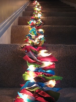 light & ribbon garland. just tie ribbons onto a string of lights.