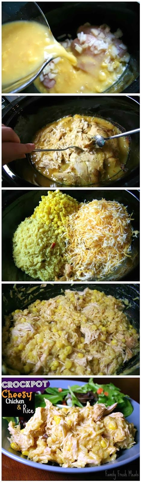 This slow cooker meal is a WINNER! Best dinner ever!\n\n Ingredients\n 1 (8oz) box Zatarain's Yellow Rice, cooked according to package.\n 4 boneless skinless chicken breasts\n 2 cups shredded cheddar cheese, or cheese blend\n 1 medium onion, chopped\n 1 (10.5oz) can cream of chicken soup (I used the healthy choice reduced fat and sodium)\n 1 (15oz) can of corn, drained\n 2 cups chicken stock