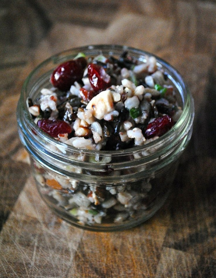 Ingredients: 1 cup wild rice,  1/2 cup dried cranberries,  1/3 cup chopped toasted pecans,  1/3 cup chopped toasted unsalted cashews,  1/4 cup finely chopped green onions,  2 tablespoons finely chopped celery,  2 tablespoons finely chopped red onion.