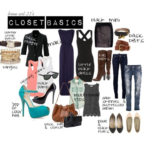 Perfect visual on closet basics that every woman needs. Link leads to detailed info! #browart23