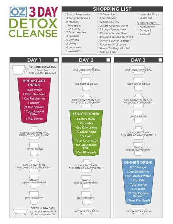 Eliminate harmful toxins, restore your system, and reset your body with this detox cleanse from Dr. Oz. All you need is 3 days, a blender and $16 a day!