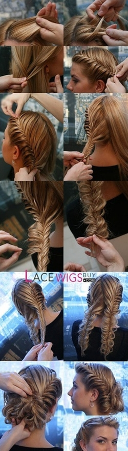 nice fishtail braid updo tutorial