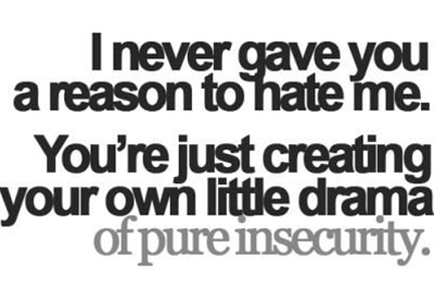 I never gave you a reason to hate me, you're just creating your own little drama of pure insecurity