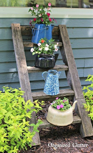 Add ladders with containers of annuals to your gardens!