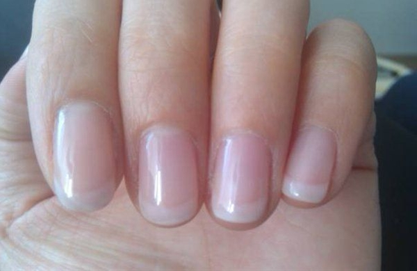 Shellac 'American' French manicure. Softer white colored tips with natural pink finish.