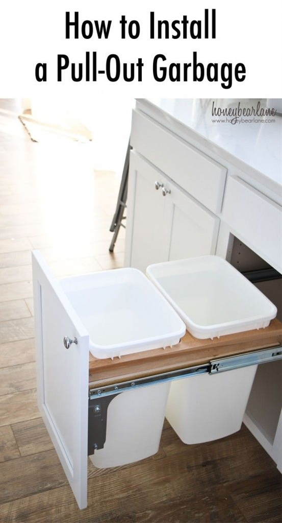 I really wanted a pull-out garbage in the kitchen.  I've always hated how the garbage, a function no kitchen can be without, never had a good place.  People put it under the sink (inconvenient and crowded), the pantry (stinky), or just at the end of a cabinet space (ugly.)  So whoever came up with the idea of turning a cabinet into a pull-out garbage was a genius...at least if you can afford the space which I know not everyone can.