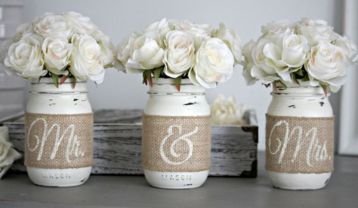 Set of 3 decorative Mason Jars in Old white or Pure White. Jar are hand painted & distressed, decorated with...