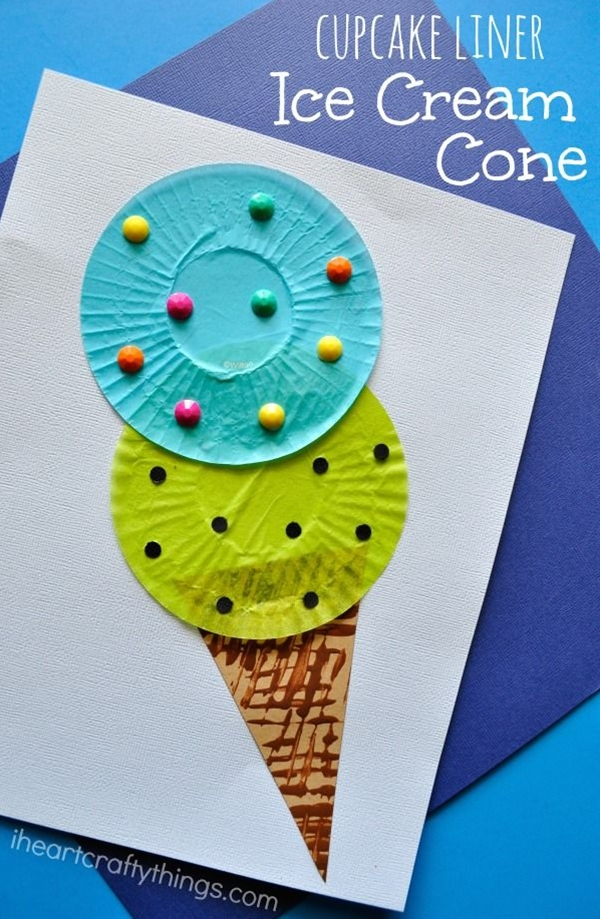 Summer craft for kids : Cupcake Liner or Coffee Filter Ice Cream Cone Craft : fun and easy for kids to make and decorate : by I Heart Crafty Things