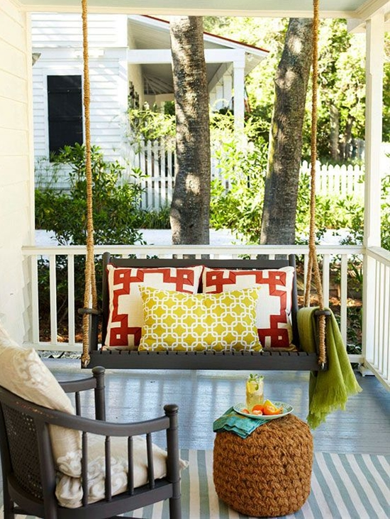 Get a comfy seat. Then add another. To be supremely functional, the best-designed front porches have conversation areas -- one seat across from another, some facing out to the yard, some facing in toward the house.