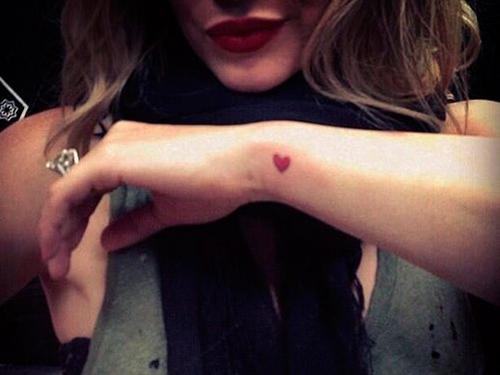 Wrist tattoo - red heart
