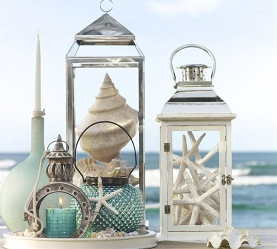 beach house decor. Got the conch shell just need the lantern