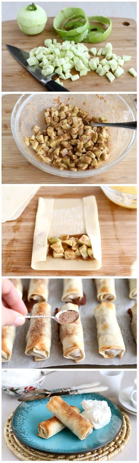 Ingredients: 2 whole Apples, Peeled, Cored And Diced (I Used Granny Smiths),  1 whole Lemon, Juiced,  ⅓ cups Sugar,  4 Tablespoons Flour,  2 teaspoons Cinnamon,  ¼ teaspoons Allspice,  ⅛ teaspoons Salt,  1 whole Egg Beaten,  10  To 12 Egg Roll Wrappers,  1 Tablespoon Butter, Melted,  2 teaspoons Cinnamon Sugar, For Dusting.