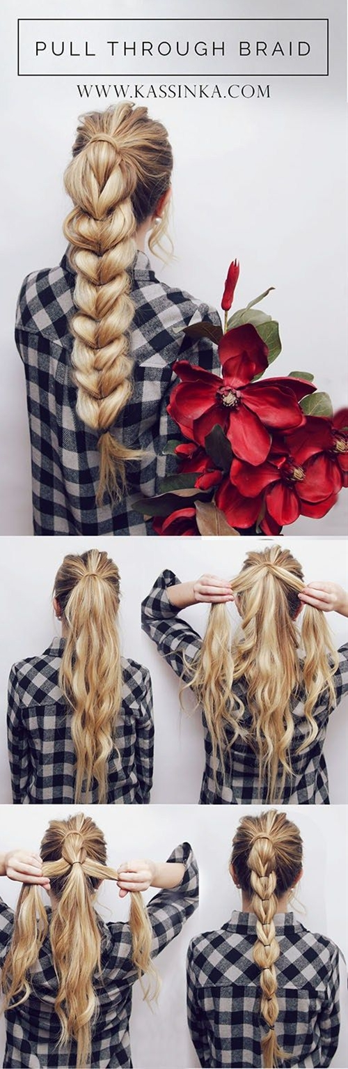 Here is a little hair tutorial I made for you guys! I love this hairstyle & it looks impossible but it's actually super simple!\n\n Start by splitting your ponytail in half then with that section split it in half again and wrap it over the ponytail.\n
