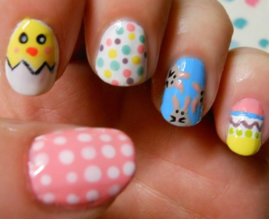 """I chose a mixture of cutesy Easter looks for my manicure; they're all super easy to replicate at home."""""""