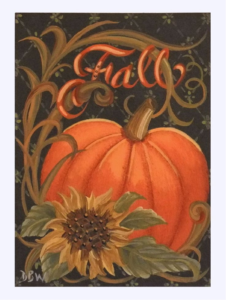 ACEO Original Acrylic Painting folkart pumpkin sunflower autumn fall calligraphy Donna Beilstein Warren