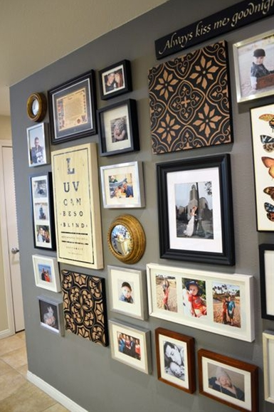 Great photo collage, gray wall color