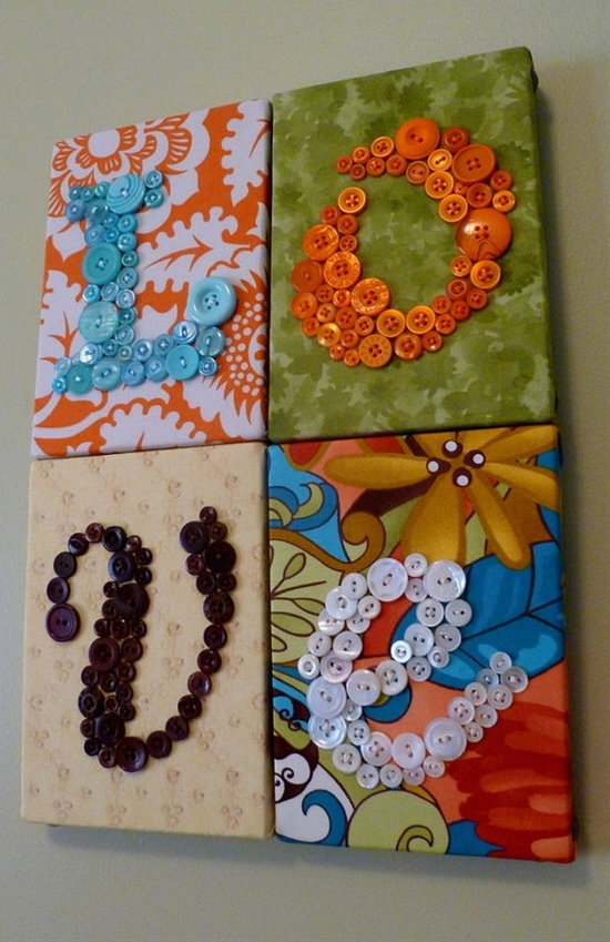 Button letters over fabric. I love the colors!