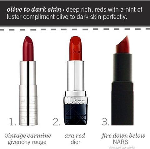 Having rather fair skin, I've always been somewhat intimated by red lipstick. Finding a shade that looks appropriate yet effortless can be a challenge, to say the least. However, I recently found Love That Red by Revlon, and it completely changed my makeup wearing ways (and it's only $7.99- a win-win). While I've only worn it twice, it is so nice to have finally found a shade of red that fulfills my idea of a great red lip. Here are some tips to finding a red lipstick for your skin ton
