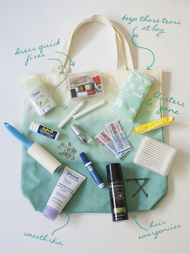 Are you going to be a Maid of Honor? Here's what should be in your wedding day emergency kit. {via Every Last Detail}