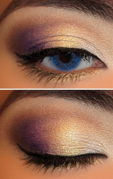 purple and gold eye shadow