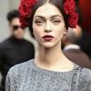 One more of the beautiful Zhenya Katava outside Dolce & Gabbana Spring 2015. Source: Patrick G. Cardirchelier