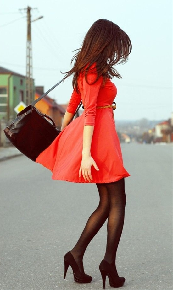 We especially love twirling to show off great looking legs in Semi-Opaque Black tights!