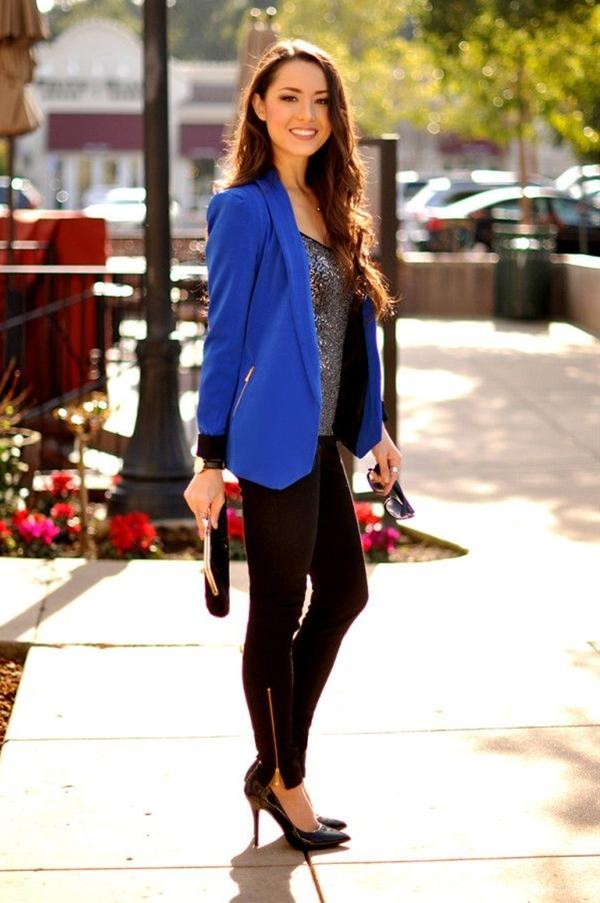 blue blazers, black jeans and black heels.