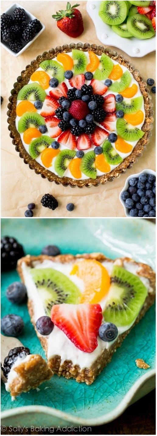 New on my blog! Healthy, feel-good, SUPER EASY! Greek Yogurt Fruit Tart.\n\n Ingredients:\n  15 Medjool dates, soaked in warm water for 10 minutes\n 1 and 1/2 cups raw unsalted cashews\n 1 cup Greek yogurt (I use vanilla, but any flavor works)\n assorted sliced fresh fruit
