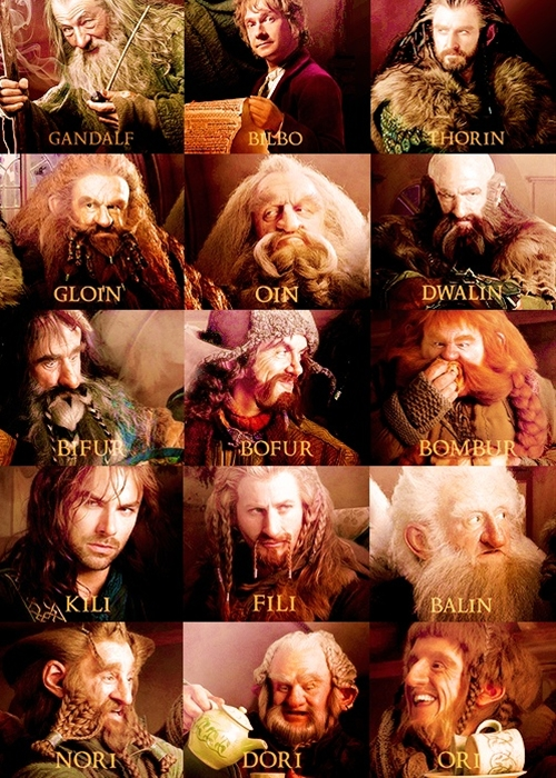 a handy reference guide for The Hobbit. i know all their names...but i didn't have these images in mind when i read the book...