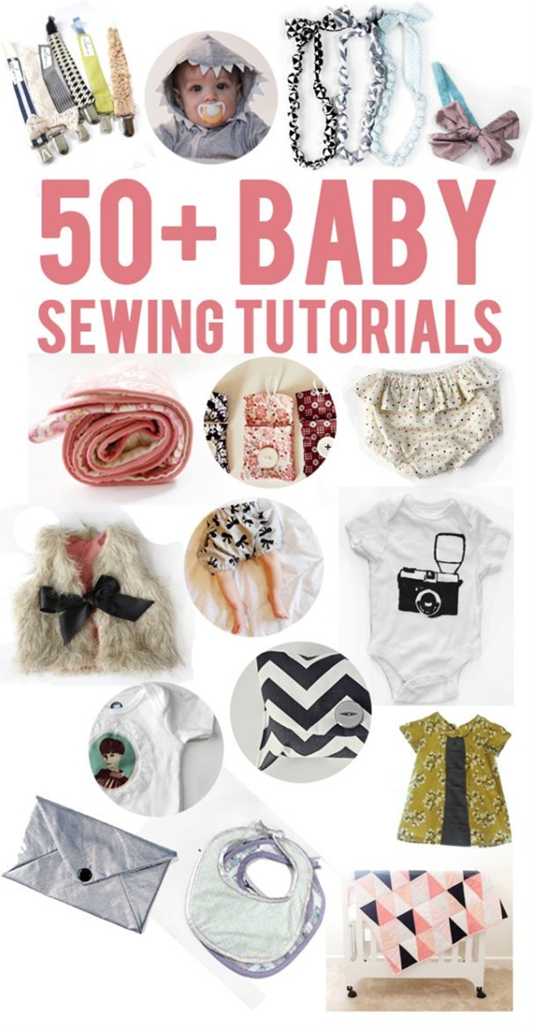 I started doing a round-up of all my baby sewing tutorials (there have been a lot of those in the last 8 months or so, have ya noticed?). And then I decided to get crazy and add a bunch of tutorials that I have been meaning to try from sewing friends around the internet. I ended up with a list of over 50 great sewing tutorials that will be the perfect reference for baby gifts, friends' babies or your baby! I can't think of too many things more fun and exciting than sewing for a tiny babe that you've never met.