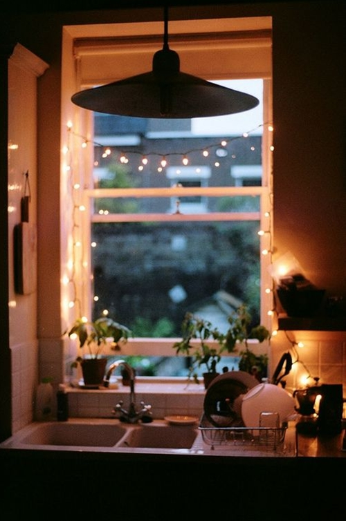 "Lights are always a great way to turn a a small space into ""your"" space."