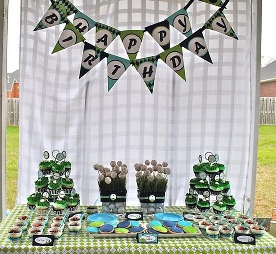 Such a cute idea for a first birthday party for a boy... a golf theme!