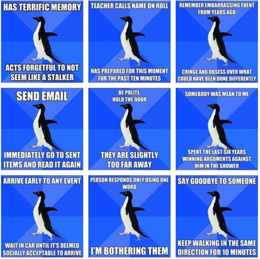 I think the moral of the story is that we are all Socially Awkward Penguin sometimes. I mean who hasn't said good bye to someone and ended up going in the same direction.
