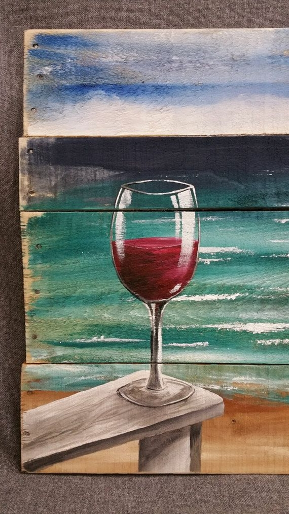 Red Wine on the beach painting pallet beach by TheWhiteBirchStudio