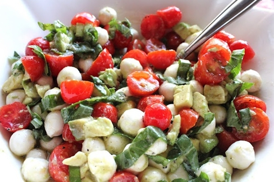 Mozzarella, Tomato and Avacado Salad