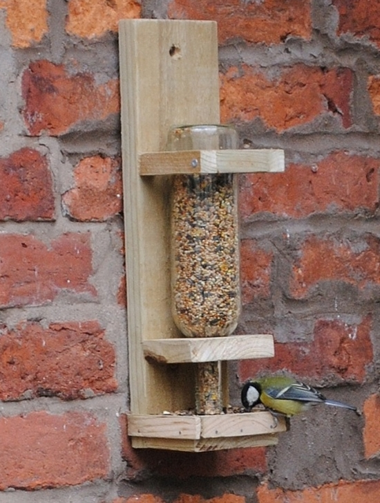 Upcycle Wine Bottle Bird Feeder