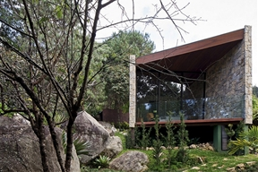 Writer's Cave-Like Retreat Surrounded by Raw Nature in Brazil