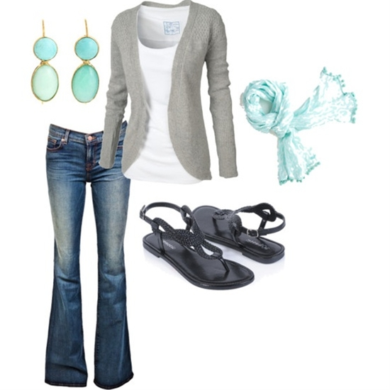 Love the soft aqua scarf with the gray. Very casual. Heels or sandals:)