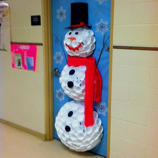 Snowman on door