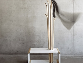Alicja Prussakowska's Tilia coat stand resembles upended wooden skis
