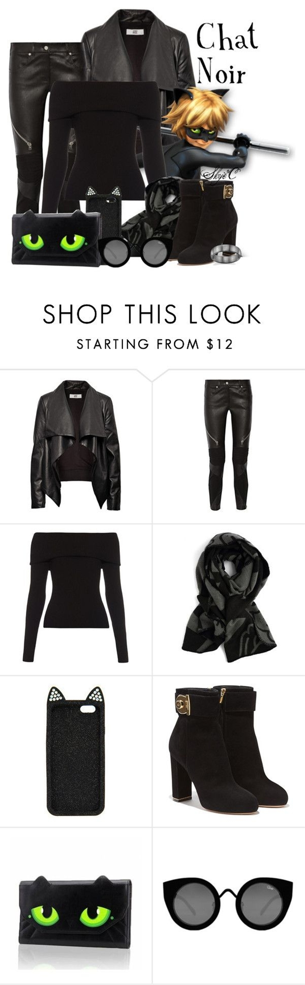"""""""Chat Noir (Cat Noir) - Miraculous Ladybug"""" by rubytyra ❤ liked on Polyvore featuring HIDE, Givenchy, A.L.C., Salvatore Ferragamo, Quay, women's clothing, women, female, woman and misses"""